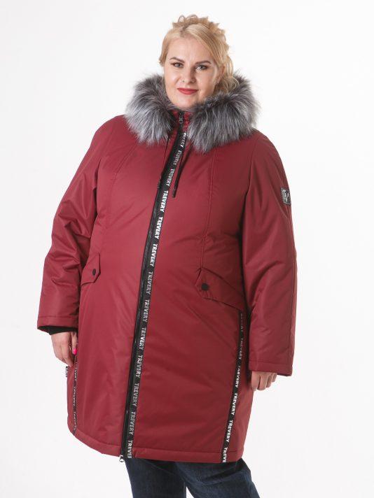Женская спортивная куртка с мехом, цвет бордовый в интернет-магазине Фабрики Тревери