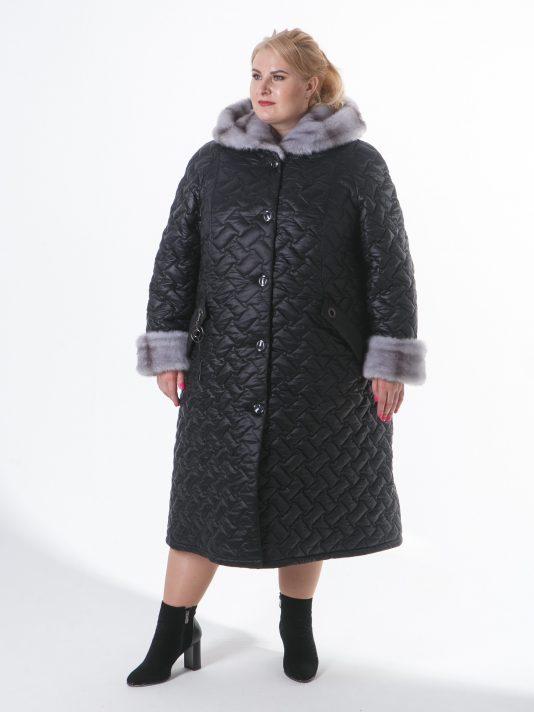 Женское пальто с геометрической стежкой и эко-мехом, цвет черный в интернет-магазине Фабрики Тревери
