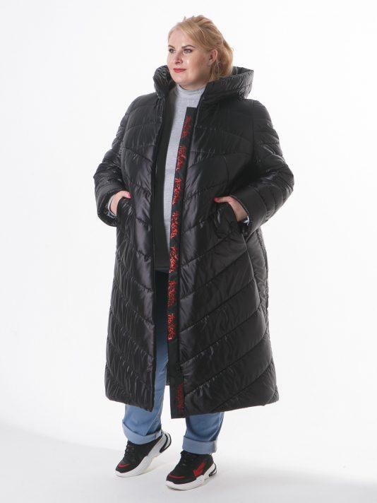Зимнее удлиненное асимметричное пальто, цвет черный в интернет-магазине Фабрики Тревери