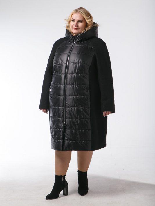 Демисезонное пальто из драпа с мерцающим эффектом, цвет черный в интернет-магазине Фабрики Тревери
