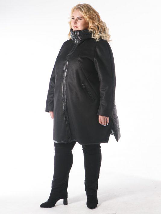 Эффектная дубленка из эко-меха в комбинации со стеганной плащевой тканью, цвет черный в интернет-магазине Фабрики Тревери