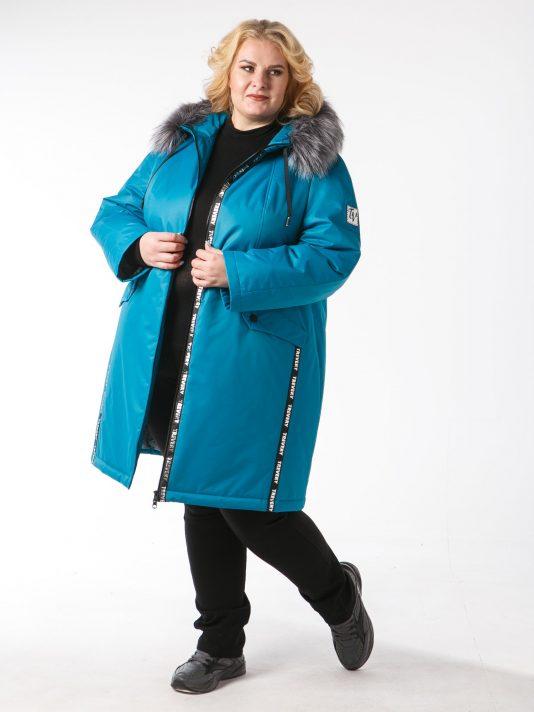 Женская спортивная куртка с мехом, цвет бирюзовый в интернет-магазине Фабрики Тревери