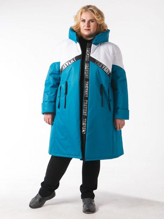 Молодежное дутое пальто цвета морской волны с белой отделкой , цвет бирюзовый в интернет-магазине Фабрики Тревери