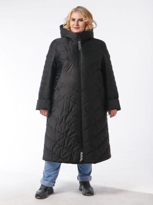 Пальто из комбинированной стеганной ткани черного цвета с брендированными лентами, цвет черный в интернет-магазине Фабрики Тревери