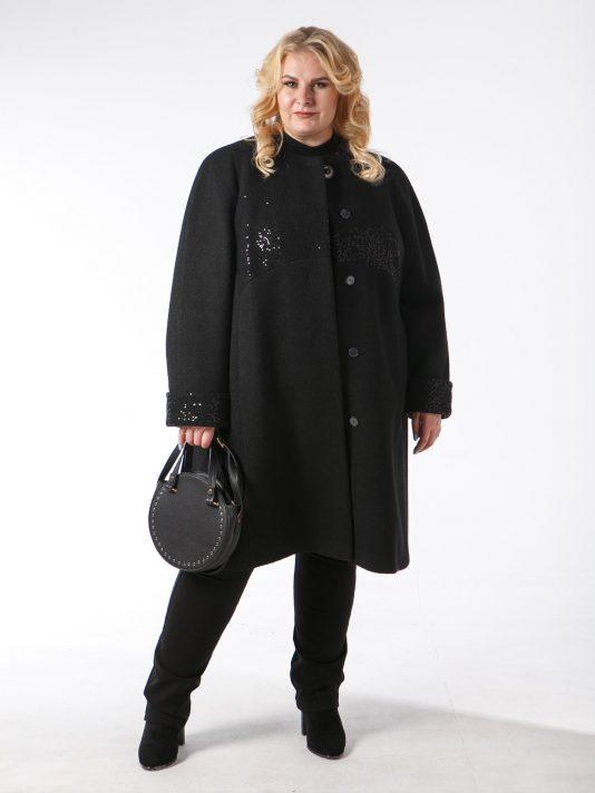 Пальто из варенки с асимметричной полочкой, цвет черный в интернет-магазине Фабрики Тревери
