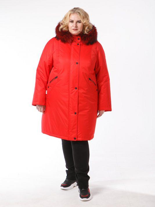 Женская куртка красного цвета с крашенным натуральным енотом, цвет красный в интернет-магазине Фабрики Тревери