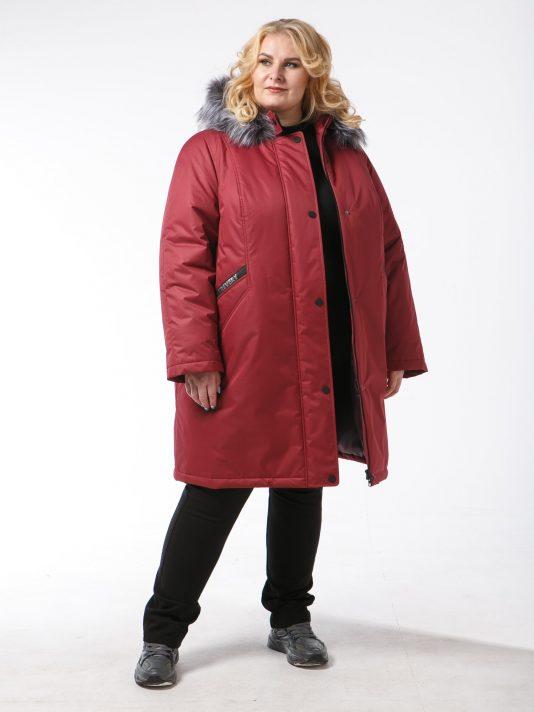 Женская зимняя куртка из плащевой ткани на мембране, цвет бордовый в интернет-магазине Фабрики Тревери