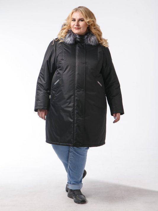 Женская зимняя куртка из плащевой ткани на мембране, цвет черный в интернет-магазине Фабрики Тревери