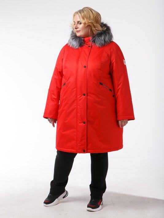 Женская зимняя куртка из плащевой ткани на мембране, цвет красный в интернет-магазине Фабрики Тревери