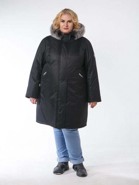 Женская зимняя кутка из плащевой мембранной ткани, цвет черный в интернет-магазине Фабрики Тревери