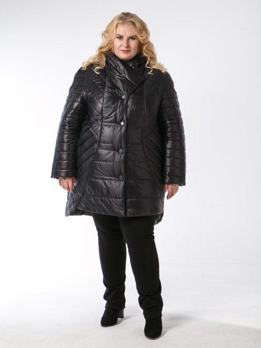 Женское асимметричное пальто из красивой комбинированной стеганной ткани с пуговицами, цвет черный в интернет-магазине Фабрики Тревери