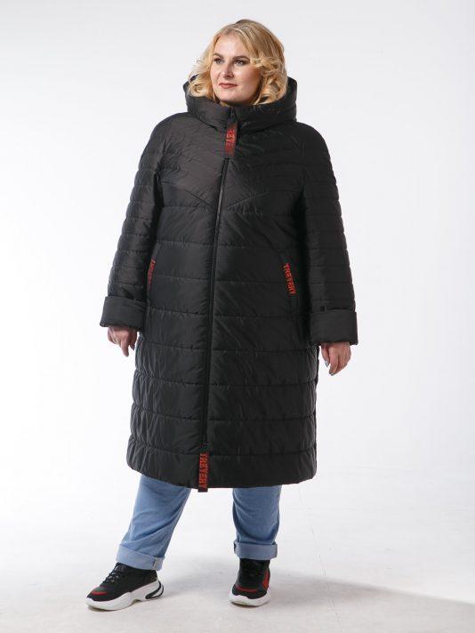 Женское пальто с асимметричной спинкой и брендированными лентами, цвет черный в интернет-магазине Фабрики Тревери