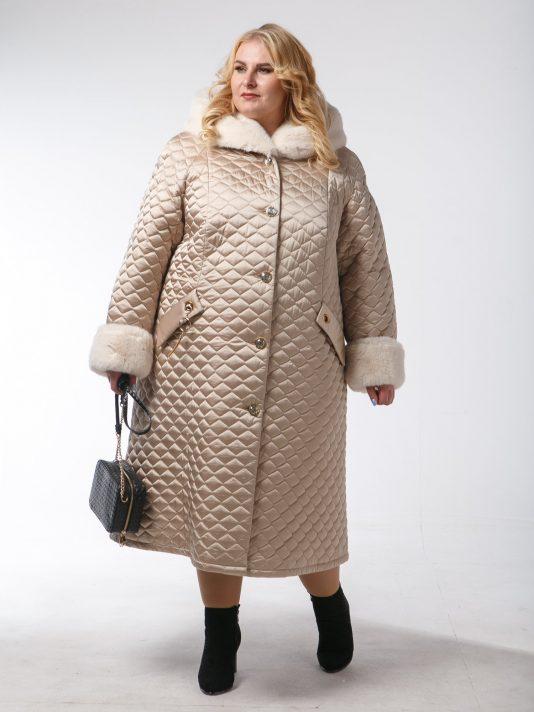 Женское пальто с геометрической стежкой и эко-мехом, цвет желтый в интернет-магазине Фабрики Тревери