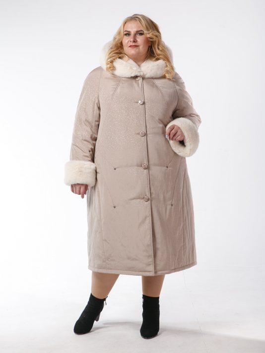 Зимнее пальто с контрастной отделочной строчкой и полу норкой, цвет бежевый в интернет-магазине Фабрики Тревери