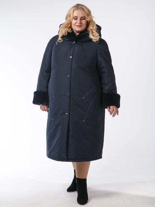 Зимнее пальто с контрастной отделочной строчкой и полу норкой, цвет синий в интернет-магазине Фабрики Тревери