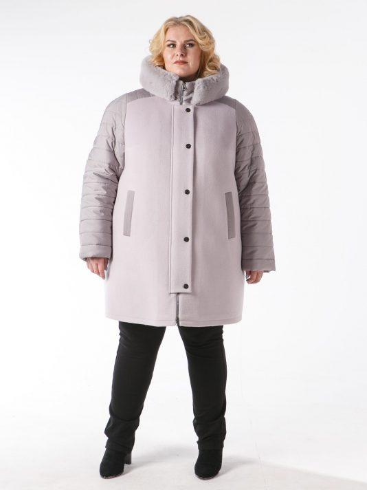 Зимняя куртка из драпа цвета маус, цвет бежевый в интернет-магазине Фабрики Тревери