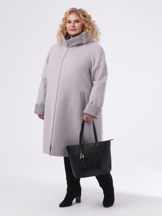 Демисезонное комби-пальто из драпа и стежки с молнией в цвет, цвет бежевый в интернет-магазине Фабрики Тревери