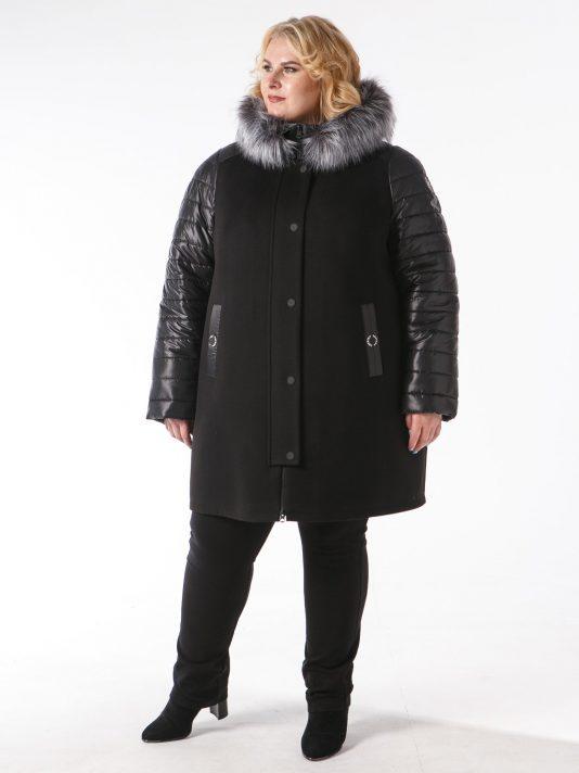 Куртка из драпа чернильного цвета с чернобуркой, цвет черный в интернет-магазине Фабрики Тревери