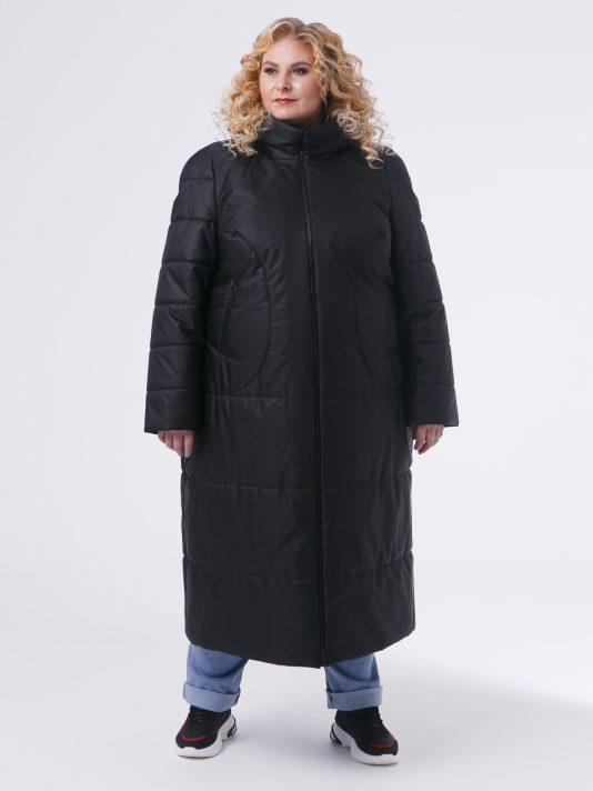 Молодежное пальто черного цвета из двух видов стежки, цвет черный в интернет-магазине Фабрики Тревери