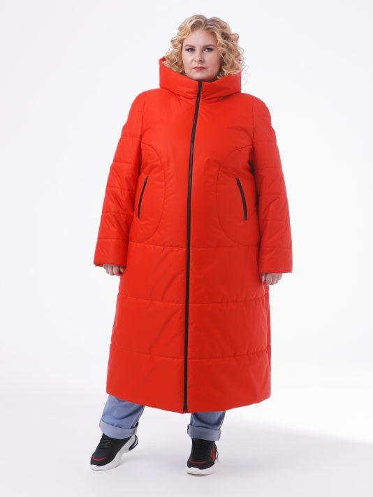 Молодежное пальто черного цвета из двух видов стежки, цвет красный в интернет-магазине Фабрики Тревери