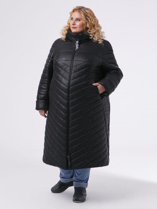 Женское пальто из комбинированной стеганной ткани , цвет черный в интернет-магазине Фабрики Тревери
