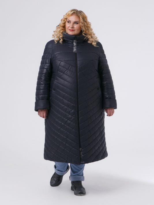 Женское пальто из комбинированной стеганной ткани , цвет синий в интернет-магазине Фабрики Тревери