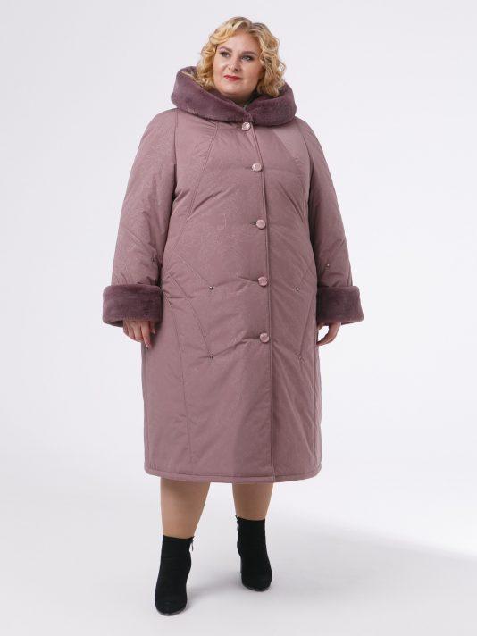 Зимнее пальто с контрастной отделочной строчкой и эко-мехом кролика, цвет розовый в интернет-магазине Фабрики Тревери
