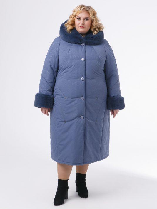 Зимнее пальто с контрастной отделочной строчкой и голубой полу норкой , цвет серый в интернет-магазине Фабрики Тревери