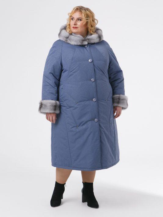 Зимнее пальто с контрастной отделочной строчкой и норкой крестовкой, цвет серый в интернет-магазине Фабрики Тревери