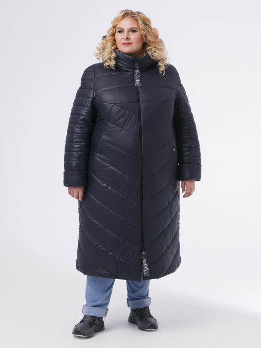 Зимнее удлиненное асимметричное пальто, цвет темно-синий в интернет-магазине Фабрики Тревери