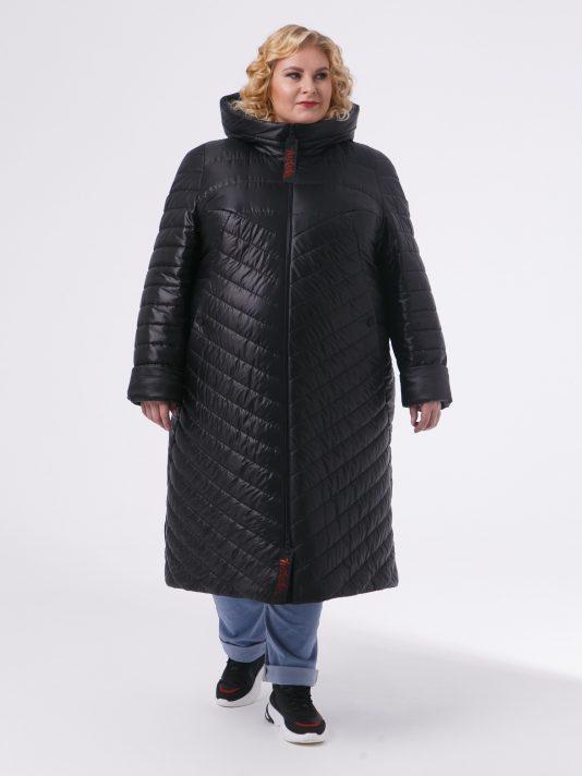 Зимнее женское пальто из комбинированной стеганной ткани с брендированными лентами, цвет черный в интернет-магазине Фабрики Тревери