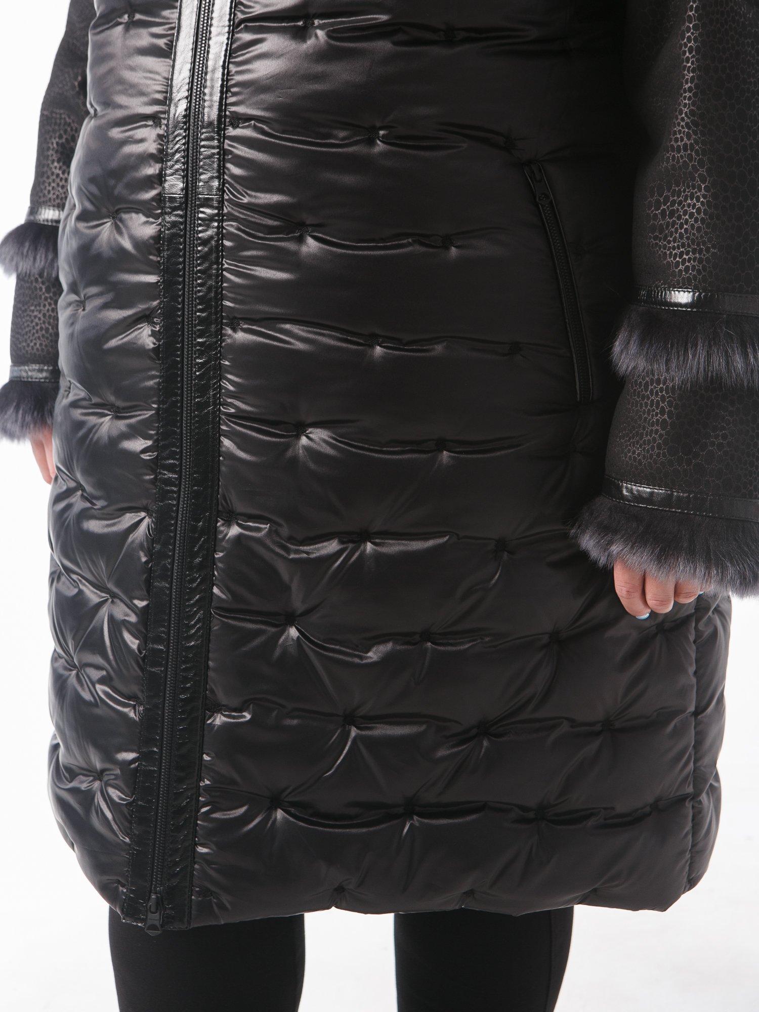 Молодежная дубленка комбинированная со стежкой в горошек, цвет черный в интернет-магазине Фабрики Тревери
